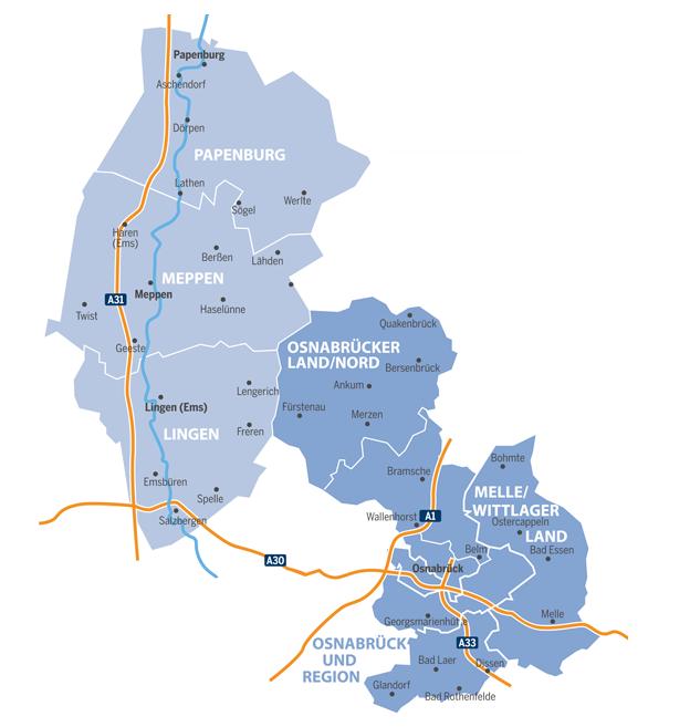 Verbreitungskarte-Anzeigenblatt-Emsland-Kurier